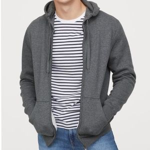 H&M Regular Fit Hooded Jacket-Black & Gray